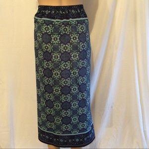 Blue Faux Wrap Around Skirt Elastic Waist Size 22W